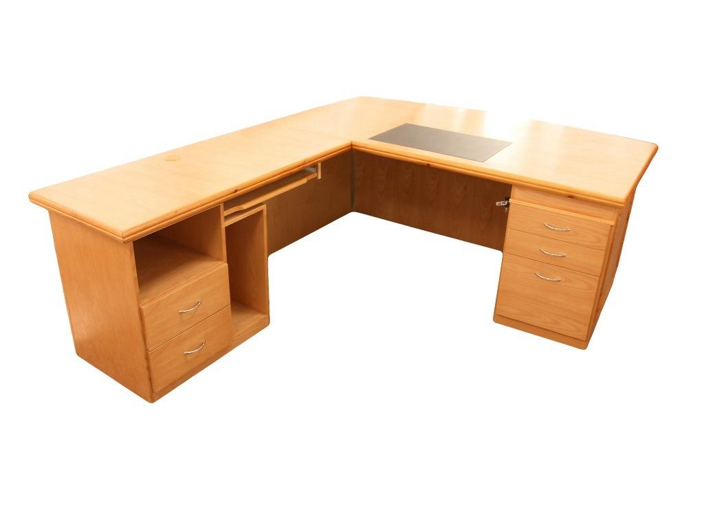 L Shaped Computer Desk 5 Drawers Silkwood Manufacturing